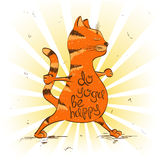 Cartoon red cat doing warrior position of yoga. Royalty Free Stock Image
