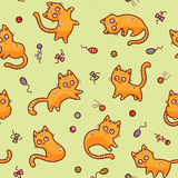 Cartoon red cats pattern Stock Photography