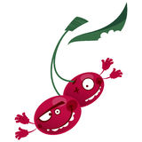 Cartoon red cherries fruit characters making a crazy face Royalty Free Stock Photo