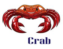 Cartoon red crab with big claws Stock Photos