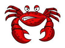 Cartoon red crab character Royalty Free Stock Photos