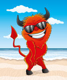 Cartoon red devil. Cartoon red devil on the beach Royalty Free Stock Photos