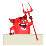 Cartoon red devil monster holding blank wooden board or placard. Vector monster character illustration. Halloween design Royalty Free Stock Photo