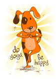 Cartoon red dog doing tree position of yoga. Royalty Free Stock Photo