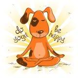 Cartoon red dog sitting on lotus position of yoga. Stock Photos