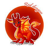 Cartoon red dragon closeup, vector illustration Royalty Free Stock Images