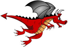 Cartoon Red Dragon Flying Isolated Stock Photos