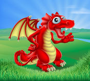Cartoon Red Dragon Scene Stock Images