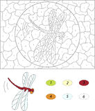 Cartoon red dragonfly. Color by number educational game for kids Stock Photography