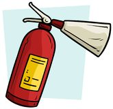 Cartoon red fire extinguisher vector icon. Cartoon red fire extinguisher on light blue background. Vector icon Royalty Free Stock Photos