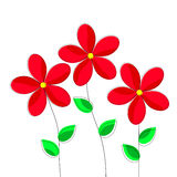 Cartoon Red Flowers on White Background. Royalty Free Stock Photos