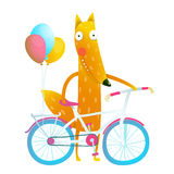 Cartoon red funny fox with bicycle and balloons Royalty Free Stock Photos