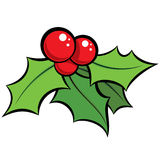 Cartoon  red and green mistletoe ornament with black outli Stock Photos