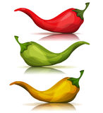 Cartoon Red, Green And Yellow Hot Chili Pepper Stock Image