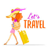 Cartoon red hair woman traveling with suitcase on summer vacation. Stock Image