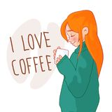 Cartoon red-haired girl in a sweater with a cup of coffee. Lettering `I love coffee Stock Images