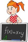 Cartoon red haired school girl. School girl in red dress with blackboard on white background Royalty Free Stock Photos