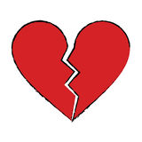 Cartoon red heart broken sad separation Royalty Free Stock Image