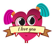 Cartoon red heart on Valentine`s Day. Cute female character with Stock Photos