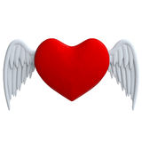 Cartoon red heart with wings in plasticine or clay Stock Image