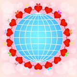 Cartoon red hearts circle Royalty Free Stock Image