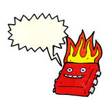 Cartoon red hot computer chip with speech bubble Royalty Free Stock Photos
