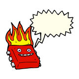 Cartoon red hot computer chip with speech bubble Royalty Free Stock Images