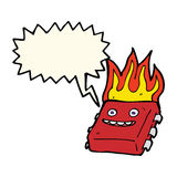 Cartoon red hot computer chip with speech bubble Stock Images