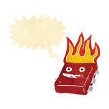 Cartoon red hot computer chip with speech bubble Stock Image