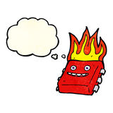 Cartoon red hot computer chip with thought bubble Stock Images