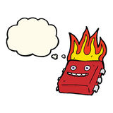 Cartoon red hot computer chip with thought bubble Royalty Free Stock Photography