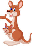 Cartoon red kangaroo carrying a cute Joey Stock Photography