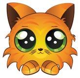 Cartoon red kitten. Cute cartoon red kitten on white background Stock Image