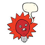 cartoon red lightbulb with speech bubble Stock Photography