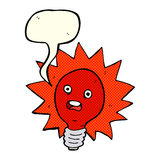 cartoon red lightbulb with speech bubble Stock Photo