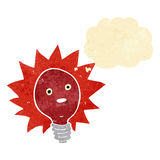 cartoon red lightbulb with thought bubble Royalty Free Stock Image