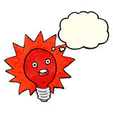 cartoon red lightbulb with thought bubble Stock Images