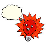 cartoon red lightbulb with thought bubble Stock Photography
