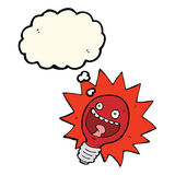 Cartoon red lightbulb with thought bubble Royalty Free Stock Photo