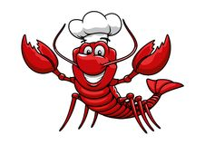 Cartoon red lobster chef in toque cap. Happy cartoon red lobster chef mascot character with white uniform toque cap. For restaurant or seafood design Royalty Free Stock Photos