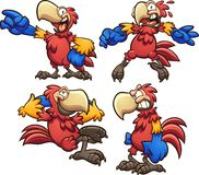 Cartoon red macaw in different poses. stock illustration