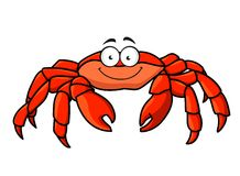 Cartoon red marine crab. With big pincer claws and a happy smile, isolated on white Stock Photography
