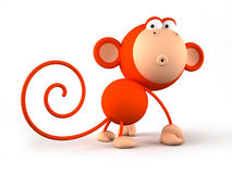 Cartoon red monkey isolated on white background Stock Photo