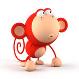 Cartoon red monkey isolated on white background Stock Image