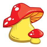 Cartoon Red Mushrooms With White Spots. Vector illustration. All elements are grouped together logically and easy to edit vector illustration