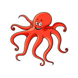 Cartoon red ocean octopus character Stock Images