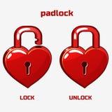Cartoon red padlock in heart shaped, Royalty Free Stock Photography