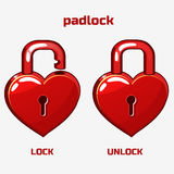 Cartoon red padlock in heart shaped, Royalty Free Stock Photos