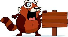 Cartoon Red Panda Wood Sign Stock Photography