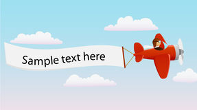 Cartoon red plane with pilot Royalty Free Stock Images